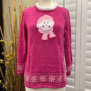 Merry & Bright Women's Size Large Pink Sweater